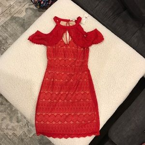 NWT Red lace Francesca's cocktail dress. Size XS